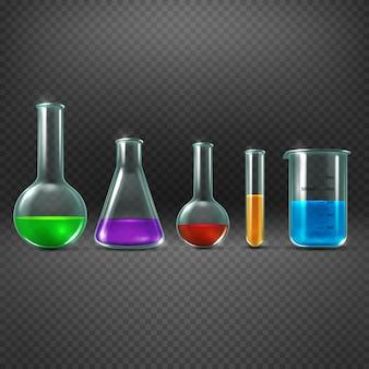O laboratório químico com produtos químicos em equipamentos do tubo de ensaio vector a ilustração. copo com cor sa