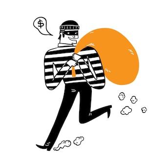 O ladrão carregando a sacola grande, desenho à mão ilustração em vetor estilo doodle