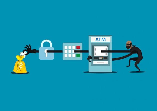 O ladrão da ilustração rouba o dinheiro do atm, máquinas de dinheiro azuis, na camisa preta, ladrão na máscara.