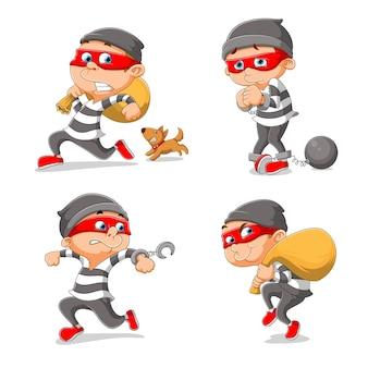 O ladrão está roubando as coisas e um cachorro o persegue