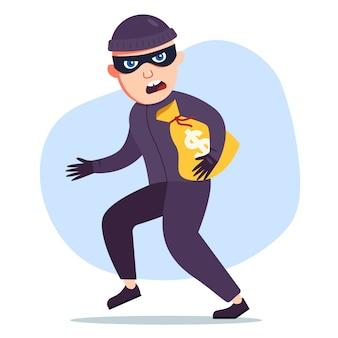 O ladrão roubou um saco de dinheiro. o criminoso foge. personagem plano