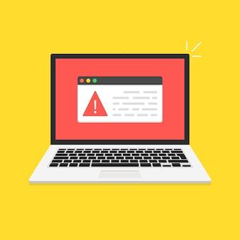 O laptop foi hackeado. mensagem de erro na tela do computador. conceito de vírus, pirataria, hacking e segurança. ilustração vetorial.
