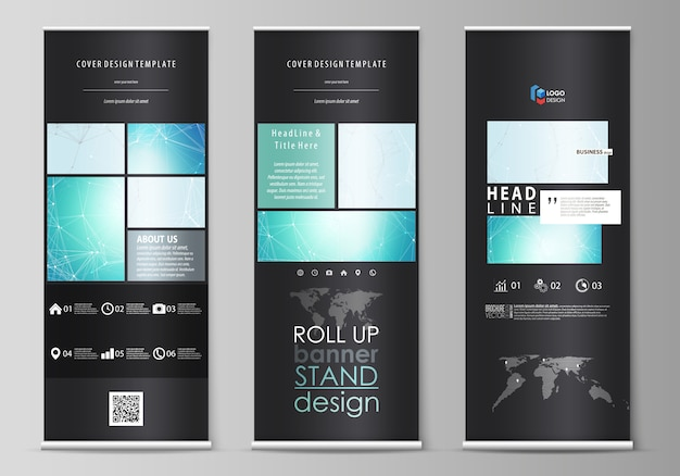 O layout colorido preto de roll up banner stands