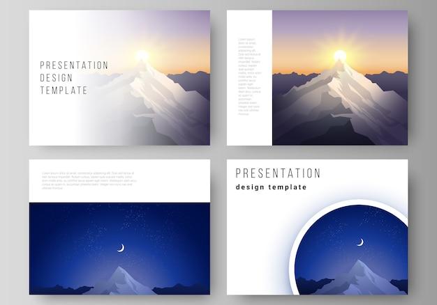 O layout de ilustração vetorial abstrato minimalista dos slides da apresentação