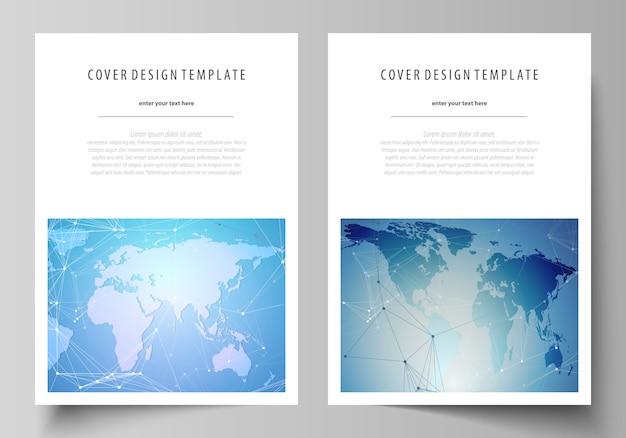 O layout de vetor do formato a4 abrange modelos de design para brochura, folheto