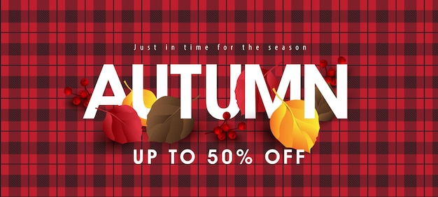 O layout do fundo do banner de venda de outono é decorado com folhas de outono em um padrão de tecido xadrez vermelho