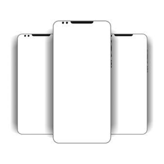 O layout do telefone com tela em branco, defina o smartphone