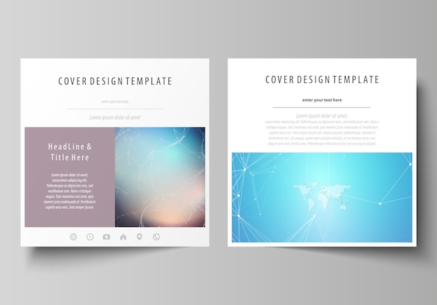 O layout minimalista de dois formatos quadrados abrange modelos