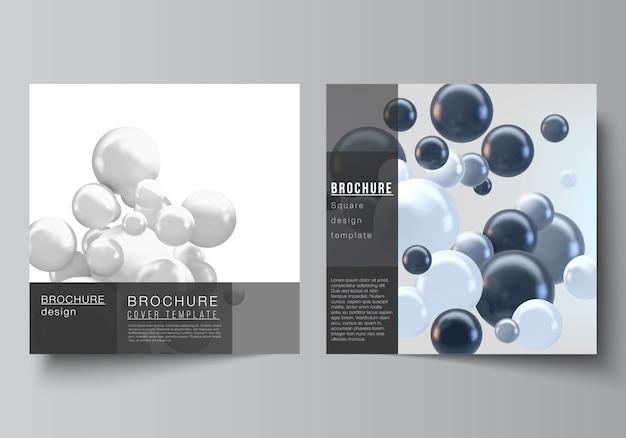 O layout vetorial de formato quadrado de dois abrange modelos para brochura