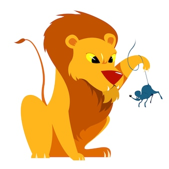O leão e a ilustração vetorial de conto de rato