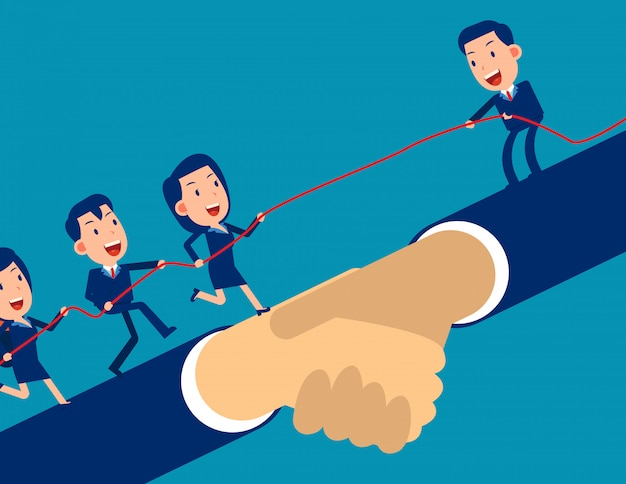 O líder ajuda o outro empresário a alcançar a meta e subir.