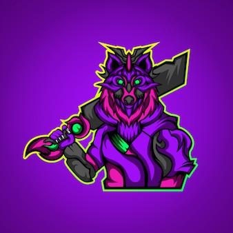O líder do logotipo da mascote de jogos do exército de lobos