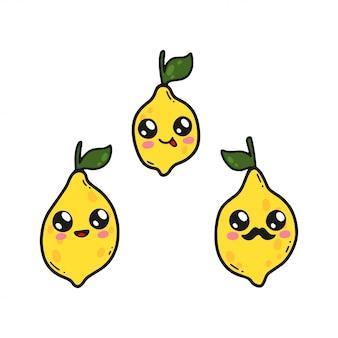O limão bonito ajustou-se no estilo do kawaii de japão. personagens de desenhos animados felizes com caretas isoladas