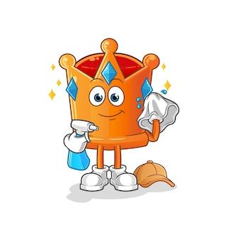 O limpador de coroa. desenho animado