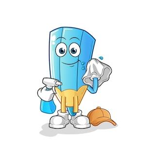 O limpador de lápis de colorir. personagem de desenho animado