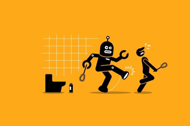 O limpador de robô chuta um trabalhador humano zelador de fazer seu trabalho de limpeza no banheiro.