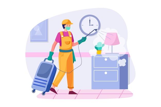 O limpador está desinfetando o quarto