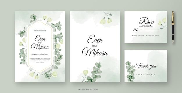 O lindo cartão de convite de casamento com aquarela de folha de eucalipto