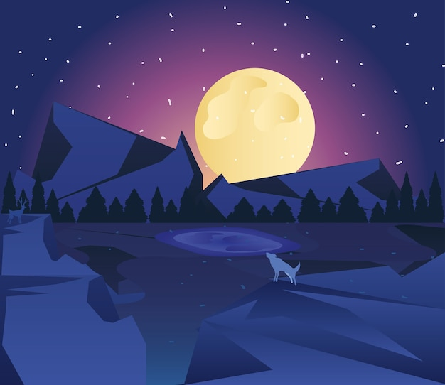 O lobo da paisagem uivando para a lua perto do lago na ilustração do céu estrelado