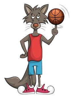 O lobo doce joga em uma cesta