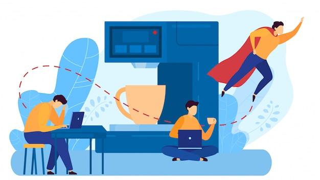 O local de trabalho compartilhado, homem do caráter senta-se no portátil, bebe o café, mosca masculina do super-herói, no branco, ilustração.