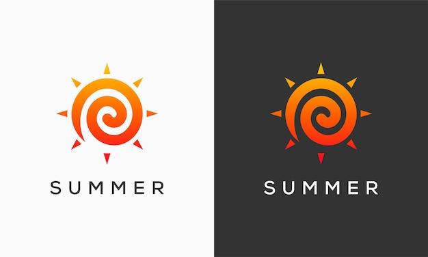 O logotipo abstrato do dia ensolarado projeta o símbolo, o modelo de logotipo de vetor abstrato do sol