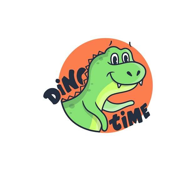 O logotipo com a frase da rotulação - hora de dino. dinossauro de desenho animado no círculo laranja.