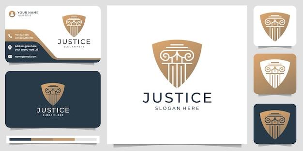 O logotipo criativo da firma de advocacia combina o design de conceito de forma de escudo. modelo de logotipo e cartão de visita.