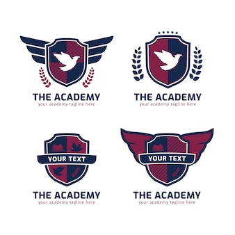 O logotipo da academia em forma de escudo com asas de águia