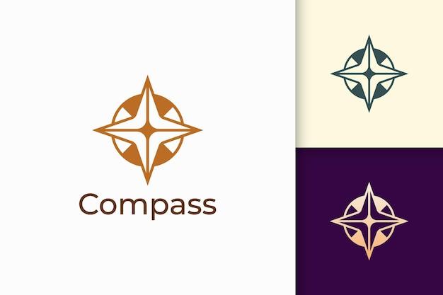 O logotipo da bússola em formato moderno representa aventura e sobrevivência