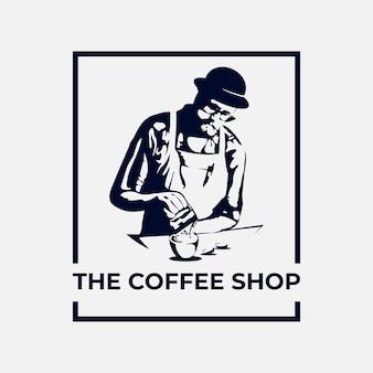 O logotipo da cafeteria e a ilustração do barista