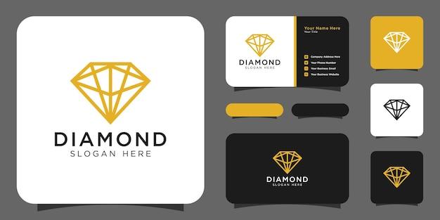 O logotipo da diamond desenha uma linha mono com cartão de visita