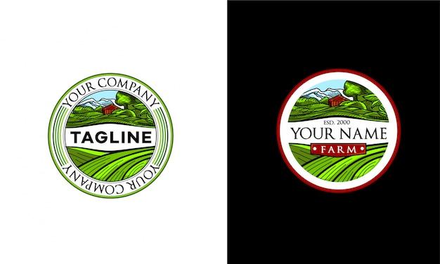 O logotipo da fazenda. um emblema redondo com a imagem de uma fazenda e campos verdes.