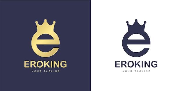 O logotipo da letra e tem um conceito de reino