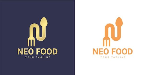 O logotipo da letra n tem um conceito de restaurante
