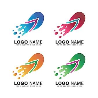 O logotipo da sandália derrete e espirra, chinelo, logotipo de calçados