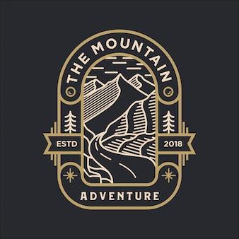 O logotipo de arte de linha de aventura de montanha