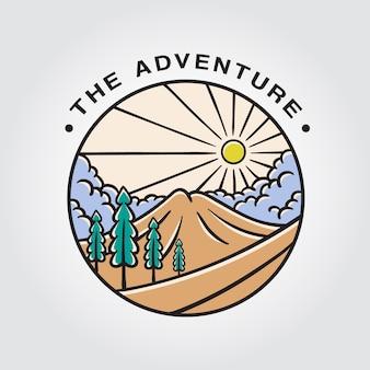 O logotipo de emblemas de aventura