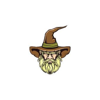 O logotipo de ilustração da velha bruxa