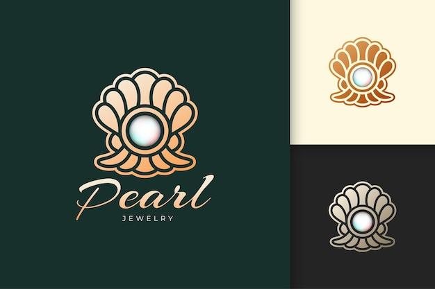 O logotipo de pérola de luxo representa joias ou gemas próprias para marcas de moda e beleza