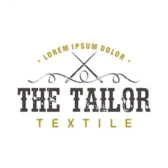 O logotipo de um alfaiate vintage faz roupas com elementos de agulha e linha