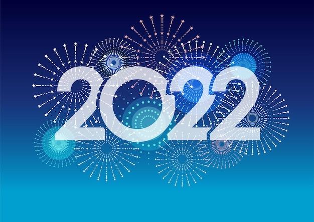 O logotipo do ano de 2022 e fogos de artifício em uma ilustração vetorial de fundo azul