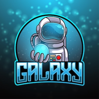 O logotipo do mascote do astronauta e do universo