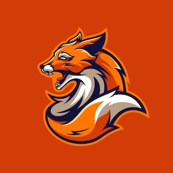 O logotipo do mascote do jogo das raposas laranja premium vector