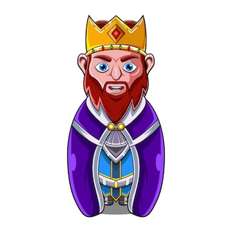 O logotipo do mascote do rei chibi