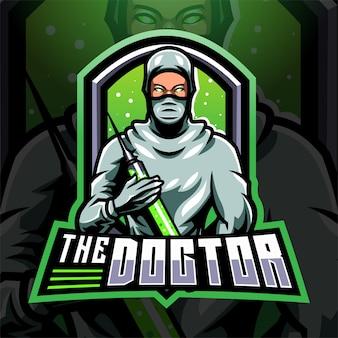 O logotipo do mascote doctor esport