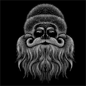 O logotipo do papai noel cabeça para tatuagem ou design de t-shirt ou outwear.