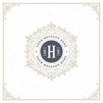 O logotipo do vintage elegante floresce ornamentos