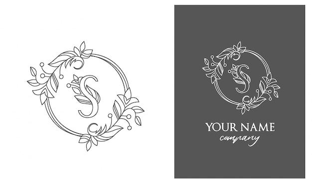 O logotipo é um sinal gracioso e feminino. cartas Vetor Premium