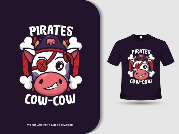 O logotipo engraçado do desenho animado da vaca pirata com texto editável e camiseta